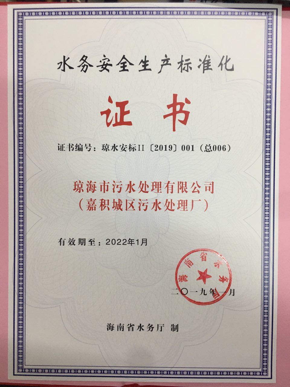 水務安全生產標準化證書  瓊海
